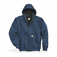 Carhartt® Thermal-Lined Hooded Zip-Front Sweatshirt, Regular, Blue, XXL - 122641BXXL