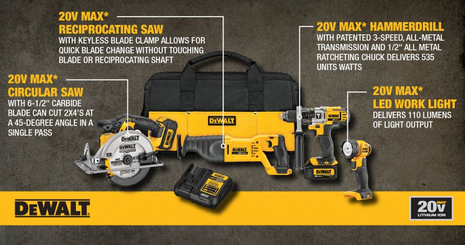 20V MAX® Cordless Combination Kit, 20 0 Voltage, Number of Tools 4