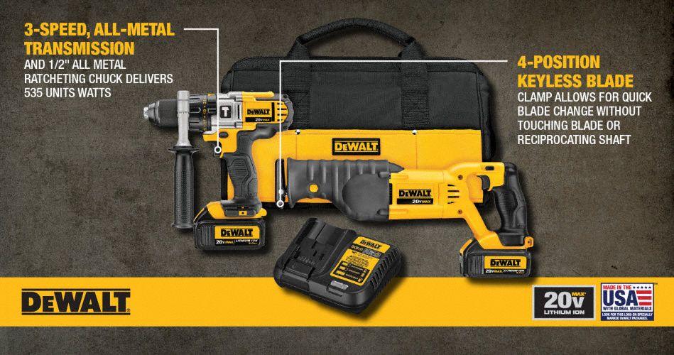 DEWALT 20V MAX® Cordless Combination Kit, 20 0 Voltage, Number of