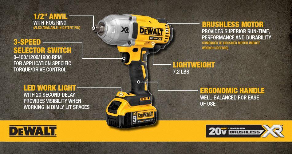Dewalt 1 2 Quot Cordless Impact Wrench 20 0 Voltage 700 Ft
