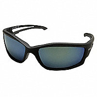 Wolf Peak® Edge Kazbek Polarized Safety Glasses, Black Frame/Blue Mirror Lens - 175932