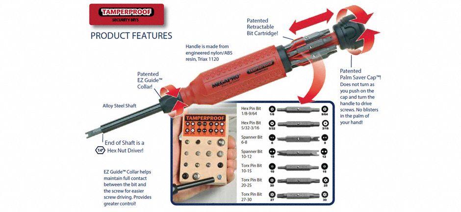 megapro multi bit screwdriver 15 in 1 8 1 2 in 5pa34 151tp b grainger. Black Bedroom Furniture Sets. Home Design Ideas